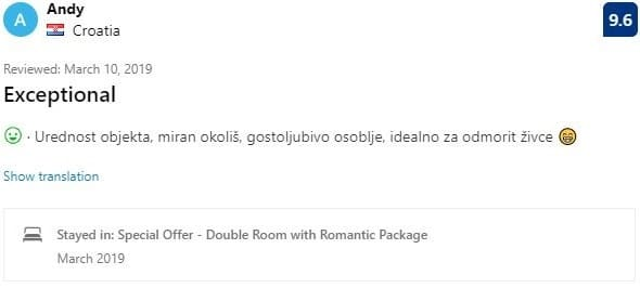 Villa Aina Testimonials Andy from Croatia